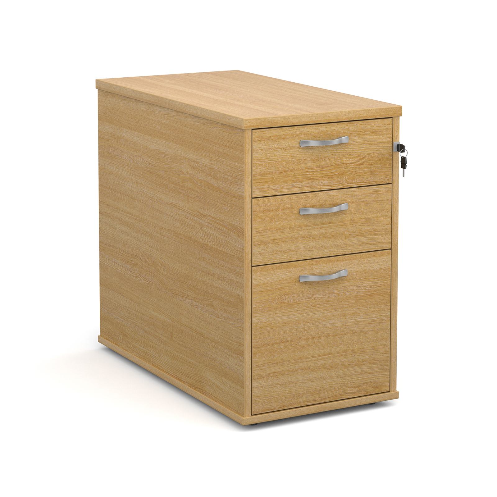 Desk high 3 drawer pedestal with silver handles 800mm deep - oak