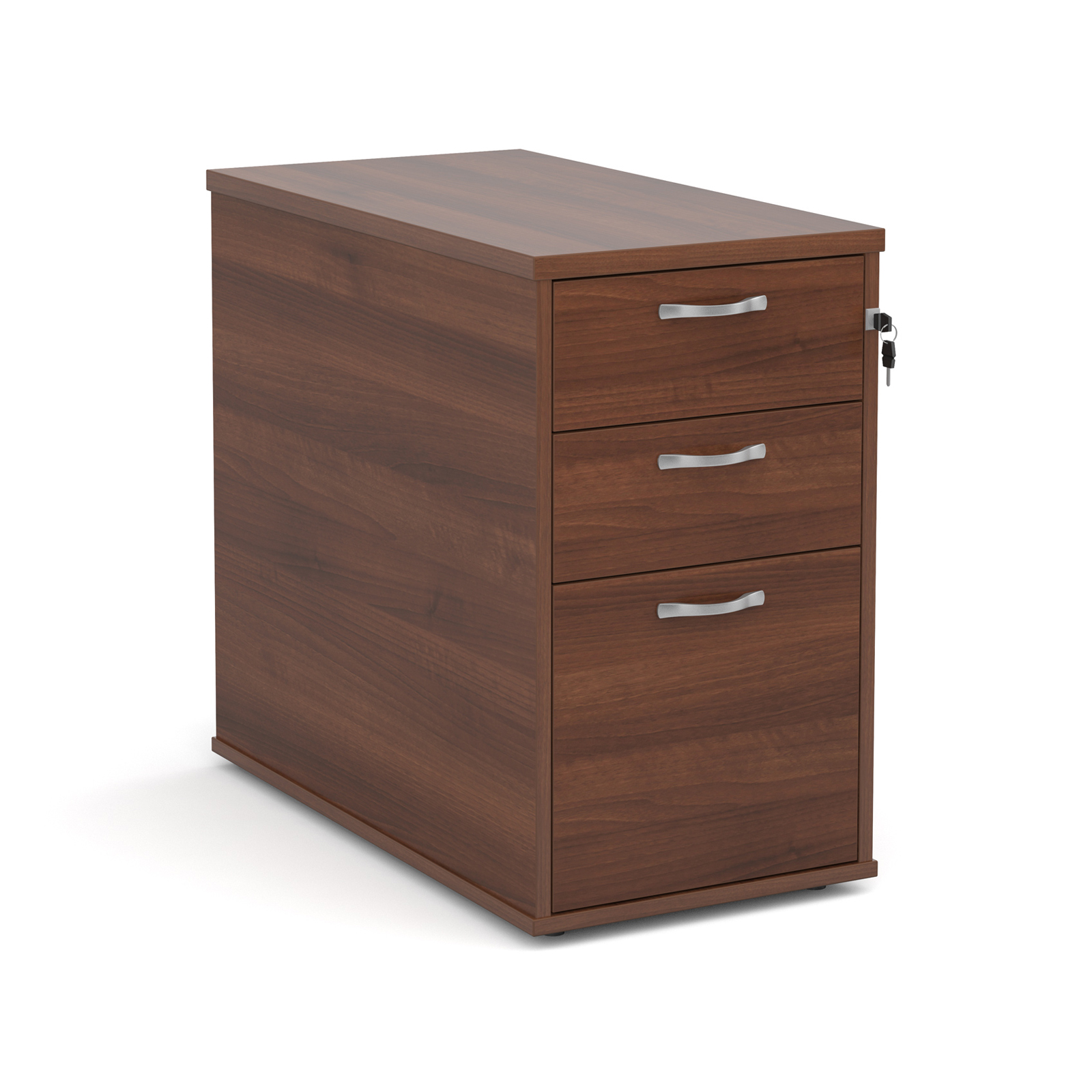 Desk high 3 drawer pedestal with silver handles 800mm deep - walnut