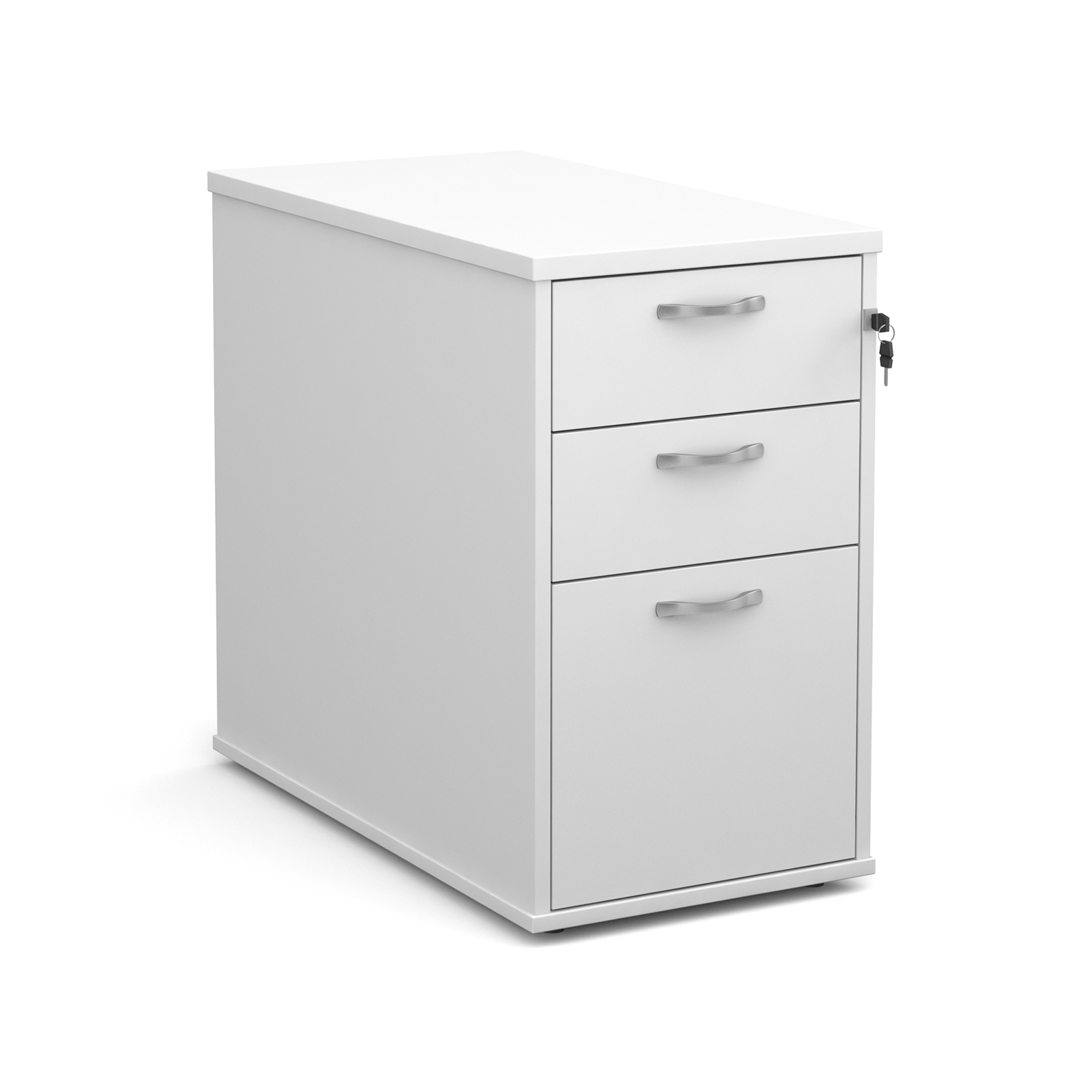 3 Drawer Desk high 3 drawer pedestal with silver handles 800mm deep - white