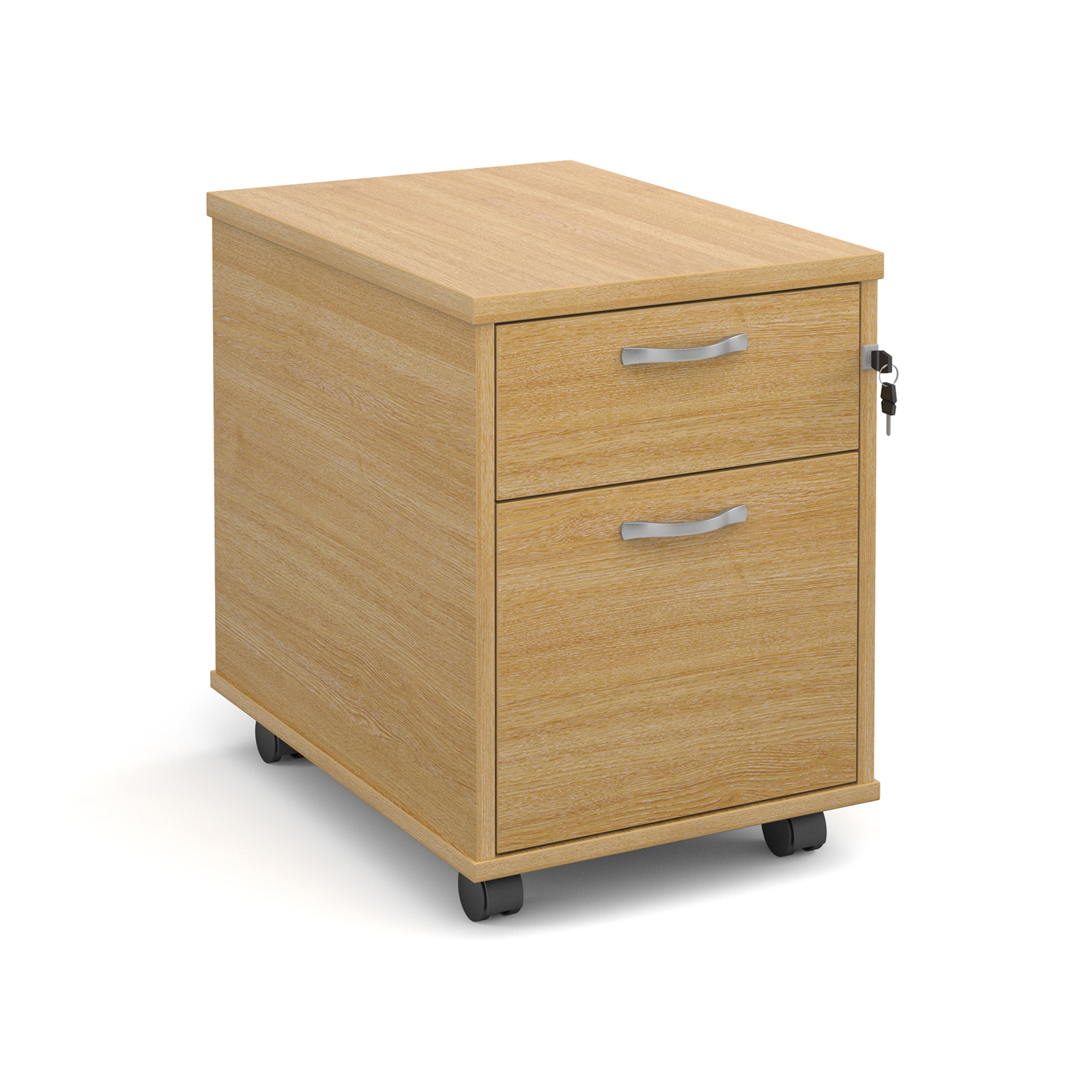 Mobile 2 drawer pedestal with silver handles 600mm deep - oak
