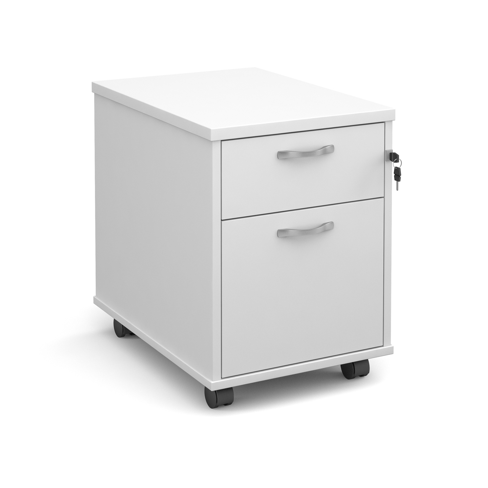 2 Drawer Mobile 2 drawer pedestal with silver handles 600mm deep - white