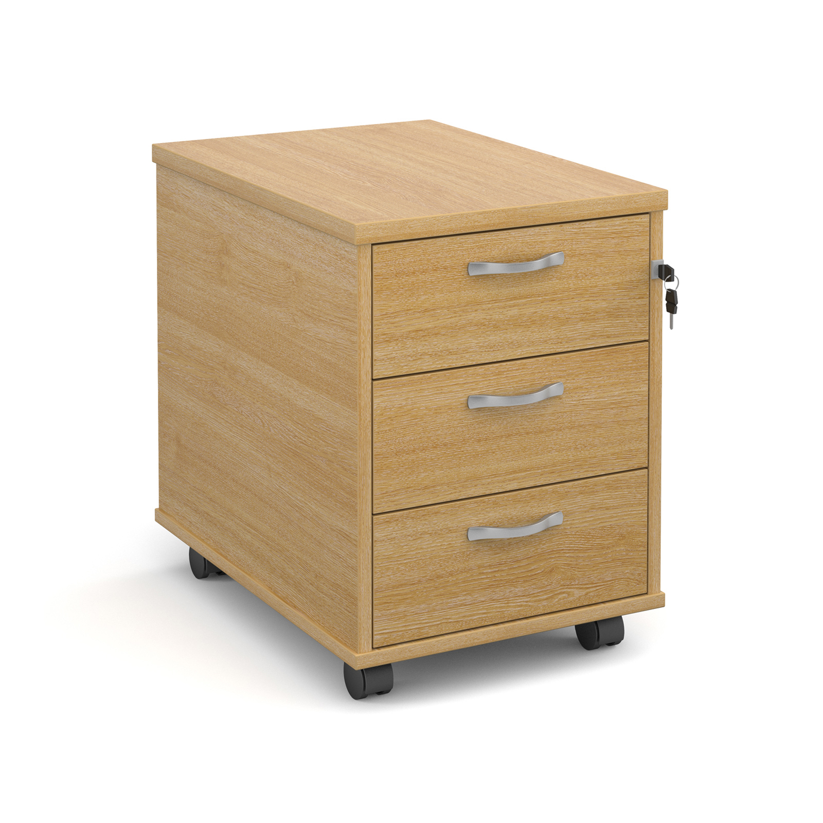 Mobile 3 drawer pedestal with silver handles 600mm deep - oak