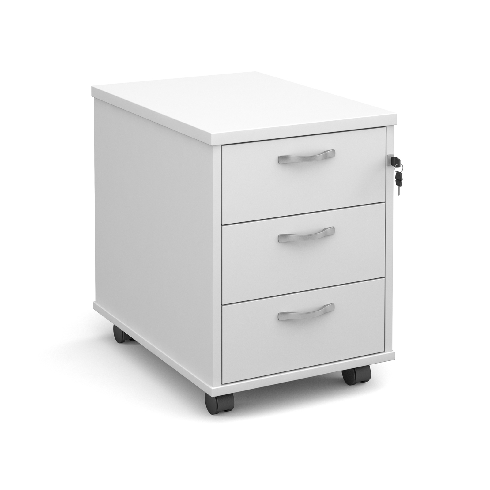Mobile 3 drawer pedestal with silver handles 600mm deep - white