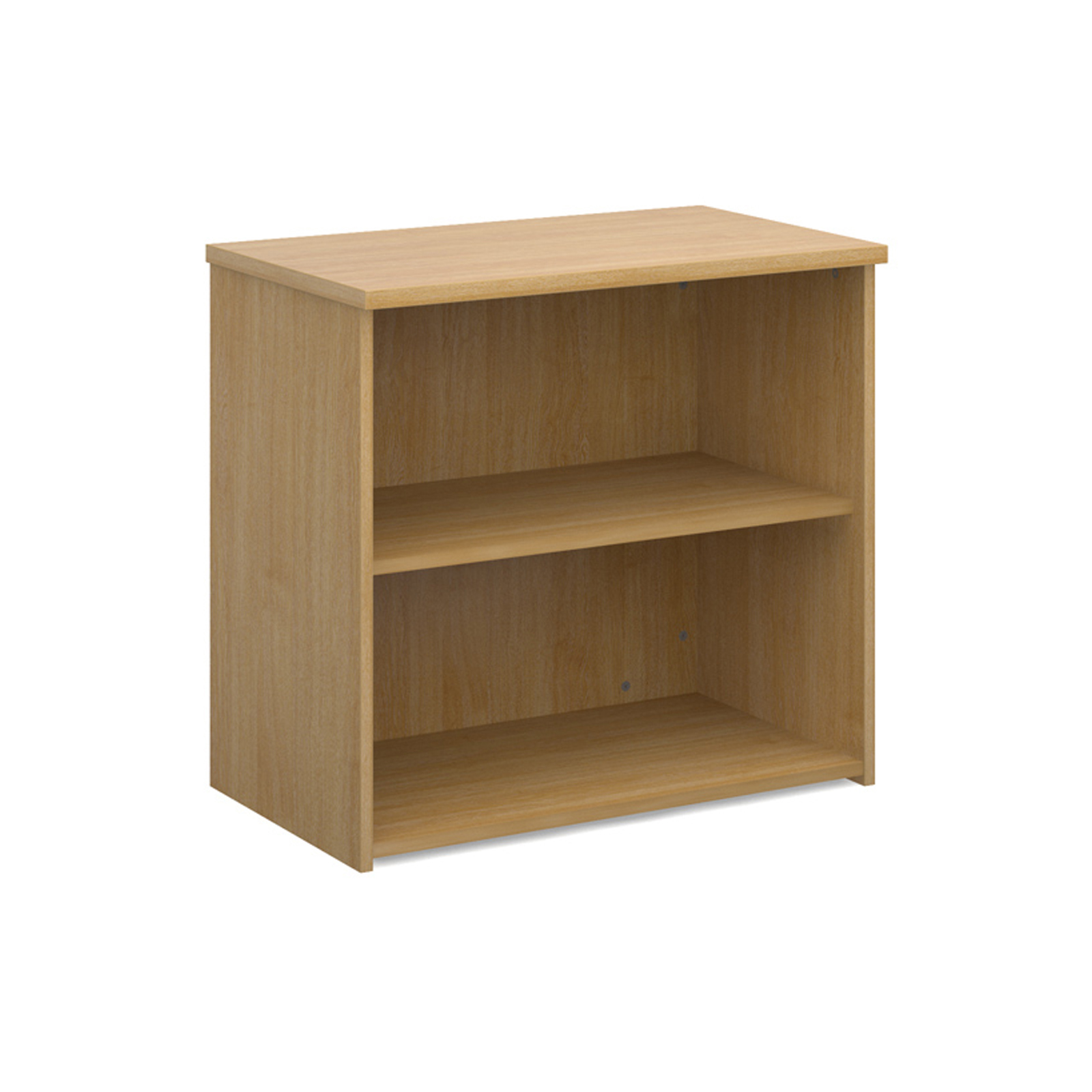 Universal bookcase 740mm high with 1 shelf - oak