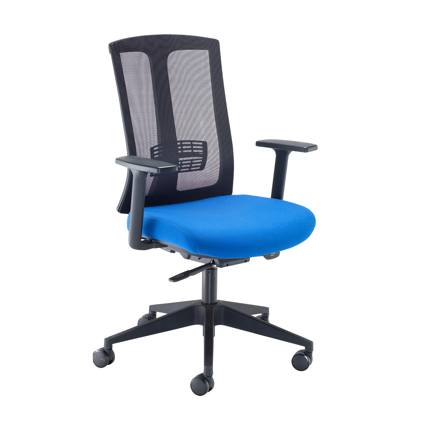Desks Ronan mesh back operators chair with fixed arms - blue