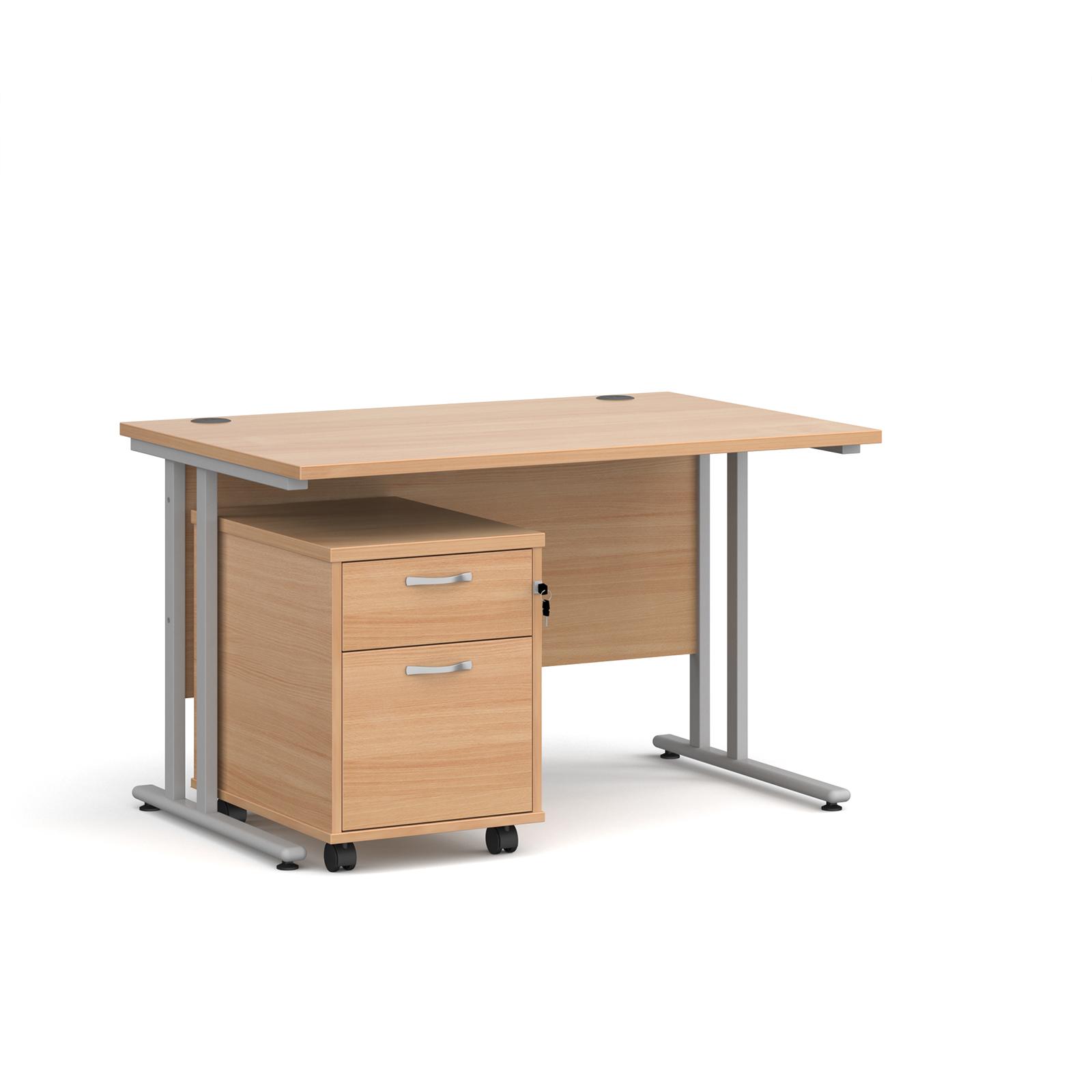 Desks Maestro 25 desk 800mm with 2 drawer pedestal