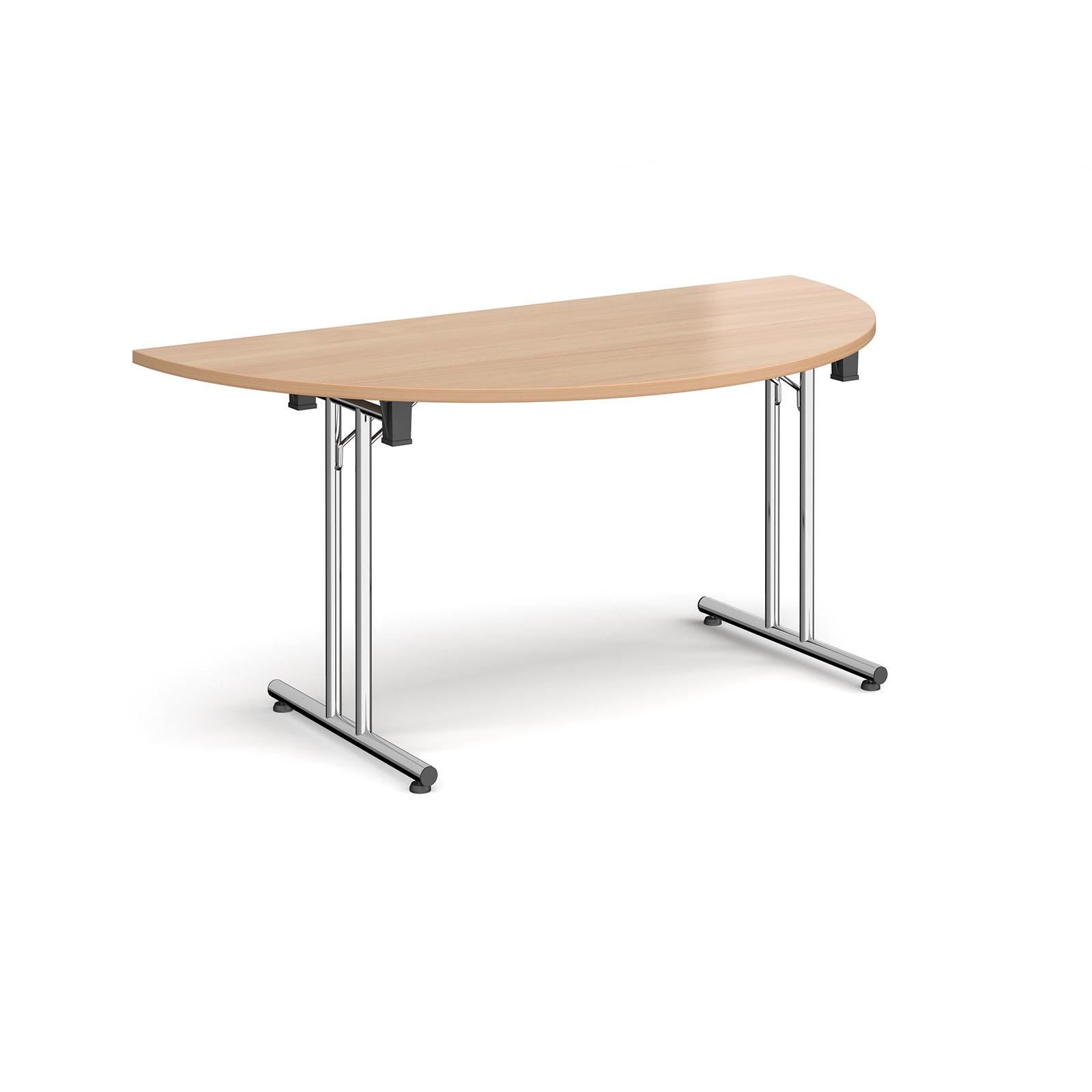 Boardroom / Meeting Semi circular folding leg table with straight feet