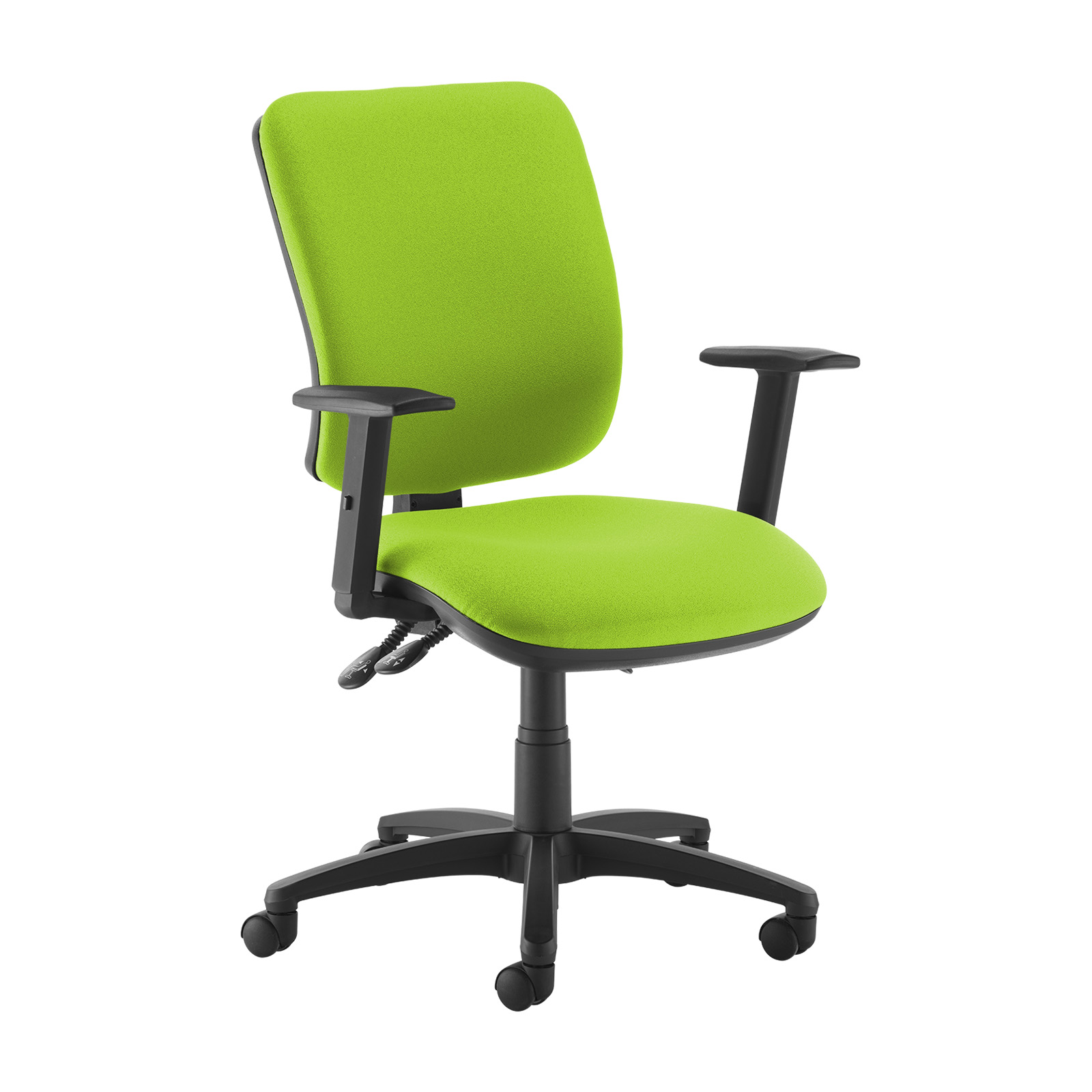 Desk Chairs Senza high back operator chair with adjustable arms - green