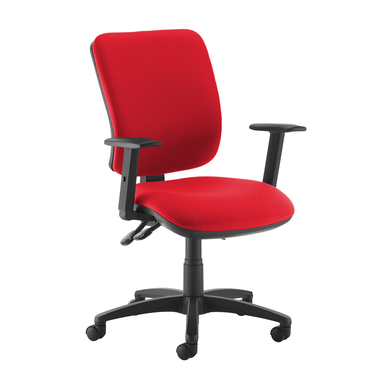 Desk Chairs Senza high back operator chair with adjustable arms - red