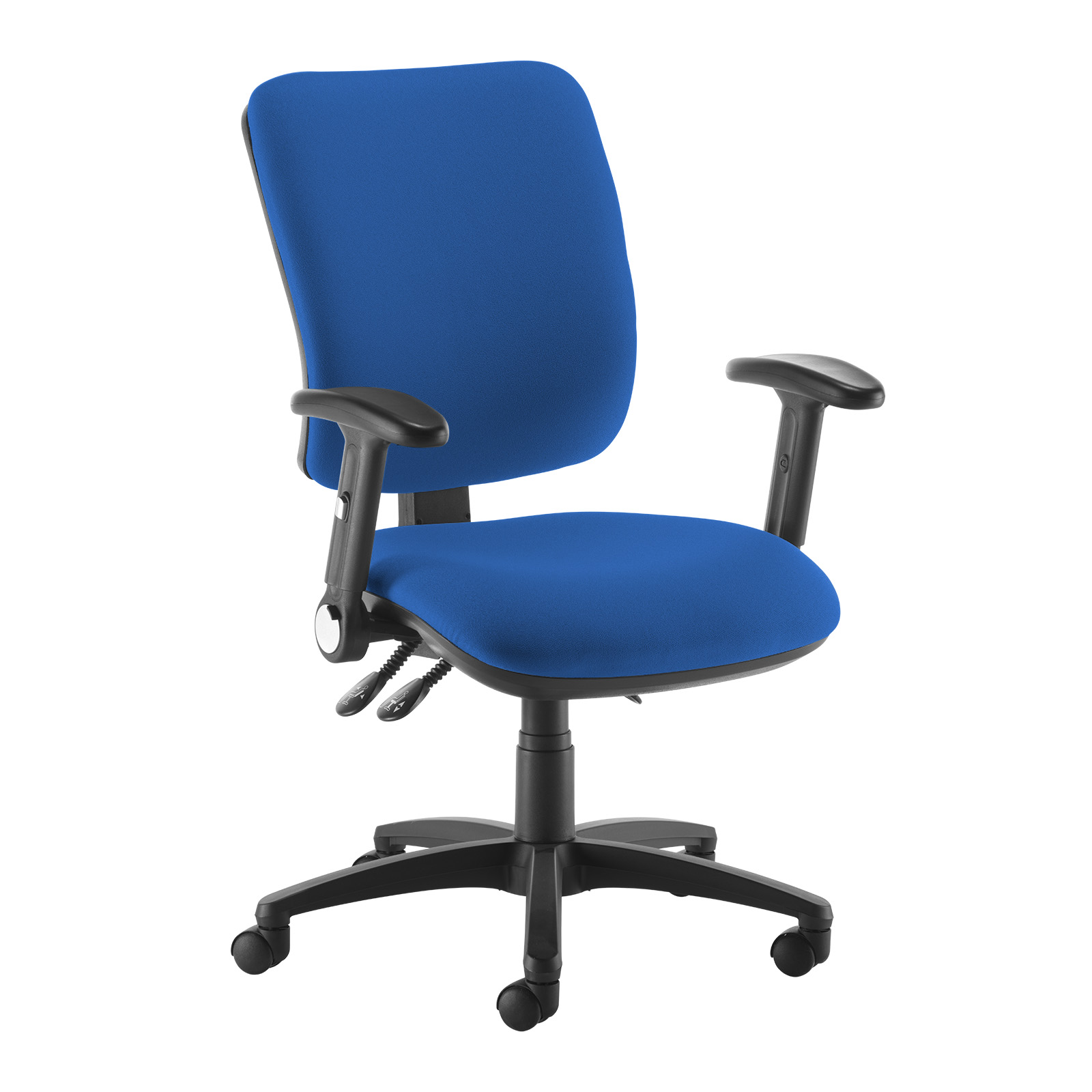Desk Chairs Senza high back operator chair with folding arms - blue
