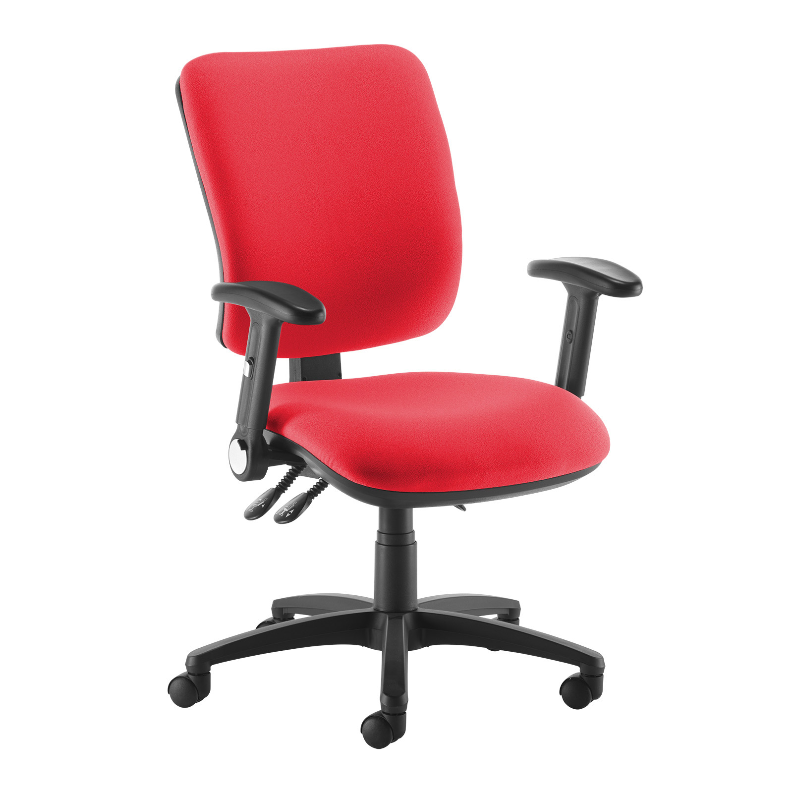 Desk Chairs Senza high back operator chair with folding arms - red