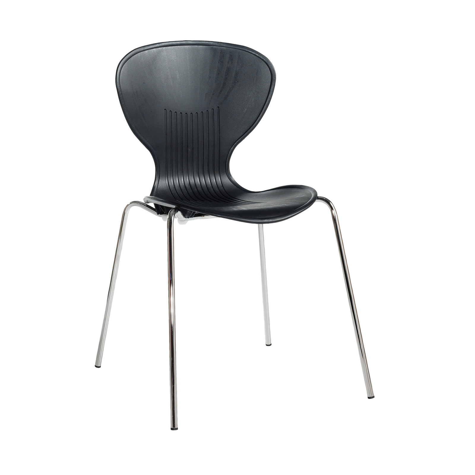 Sienna one piece shell chair with chrome legs (pack of 4) - black
