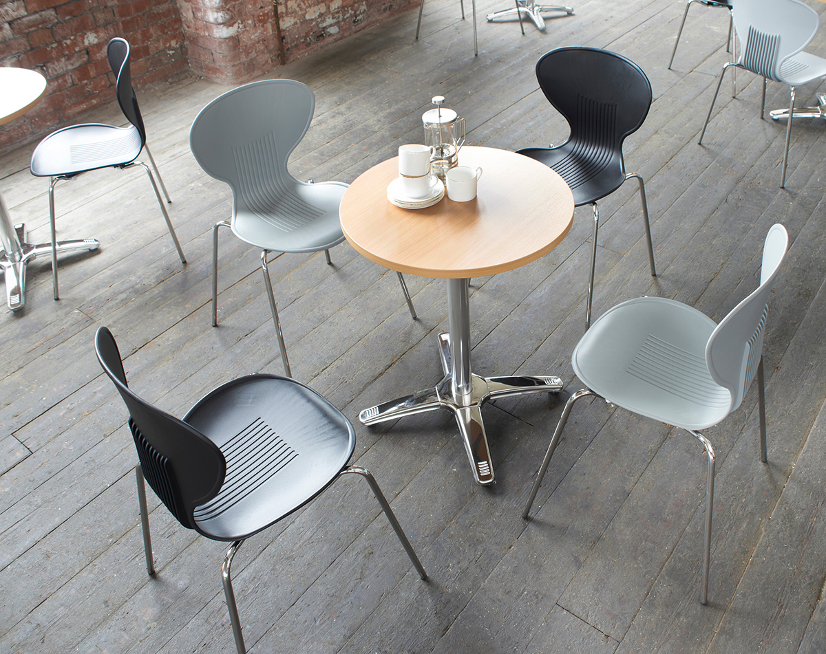Sienna one piece shell chair with chrome legs (pack of 4) - grey
