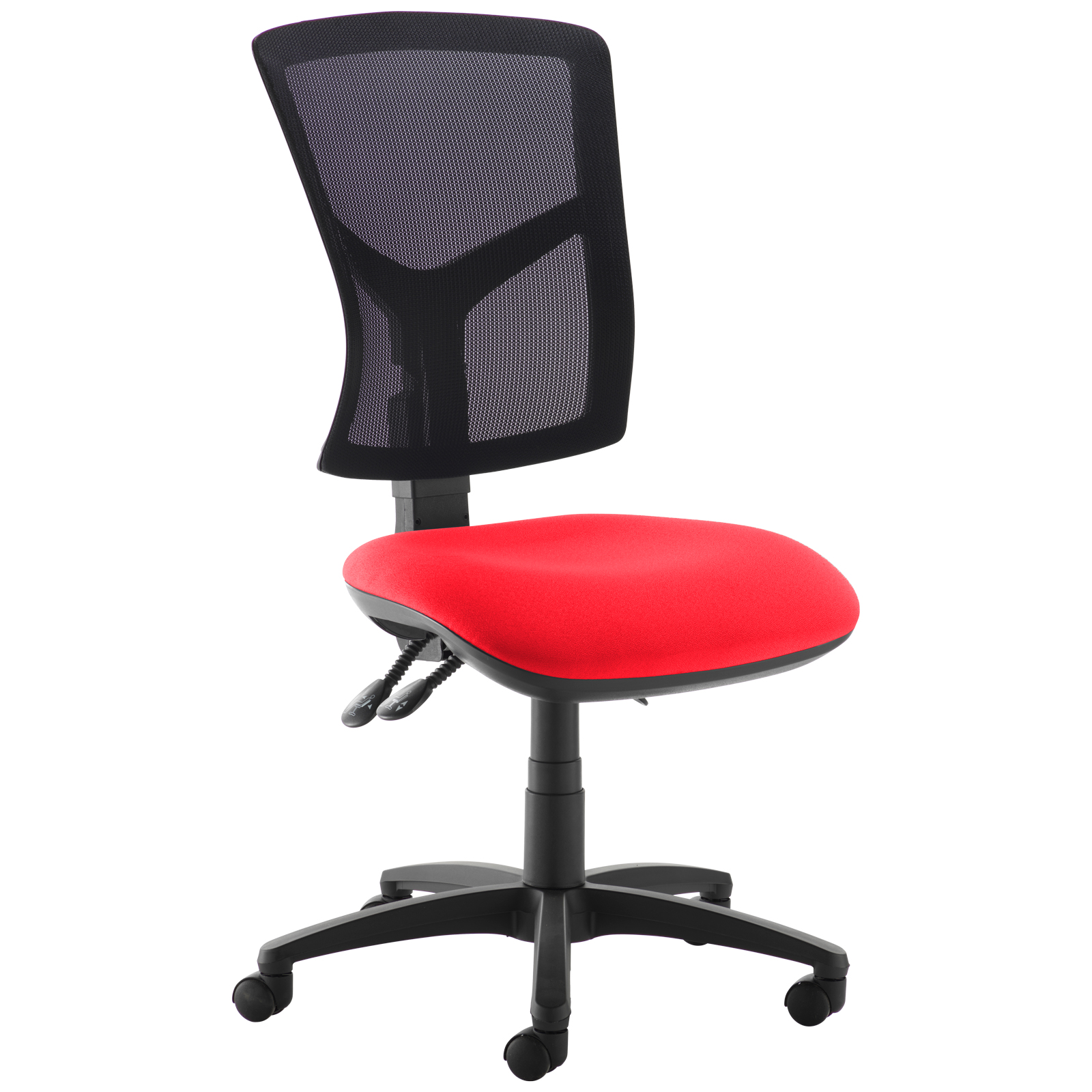 Desk Chairs Senza high mesh back operator chair with no arms - red