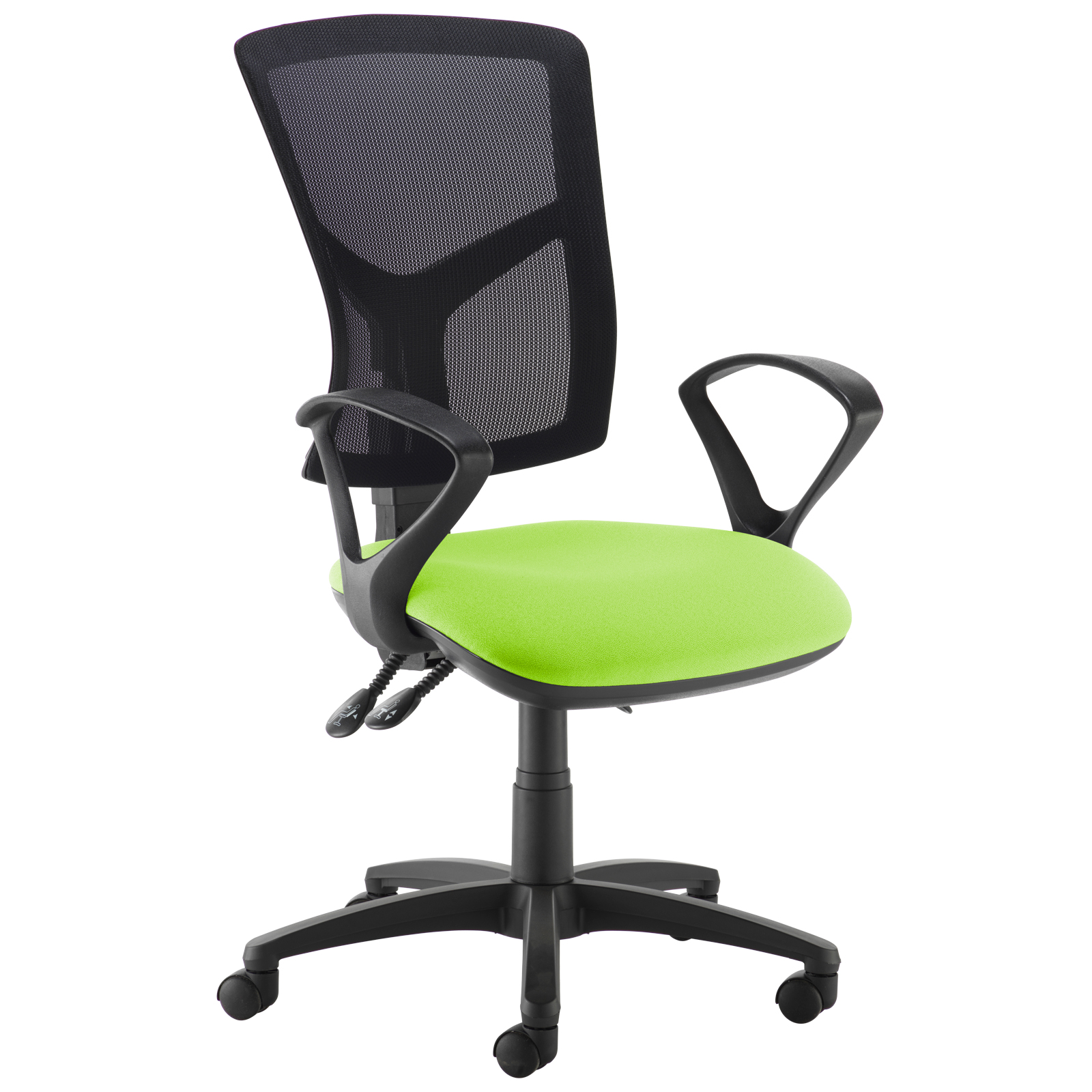 Desk Chairs Senza high mesh back operator chair with fixed arms - green