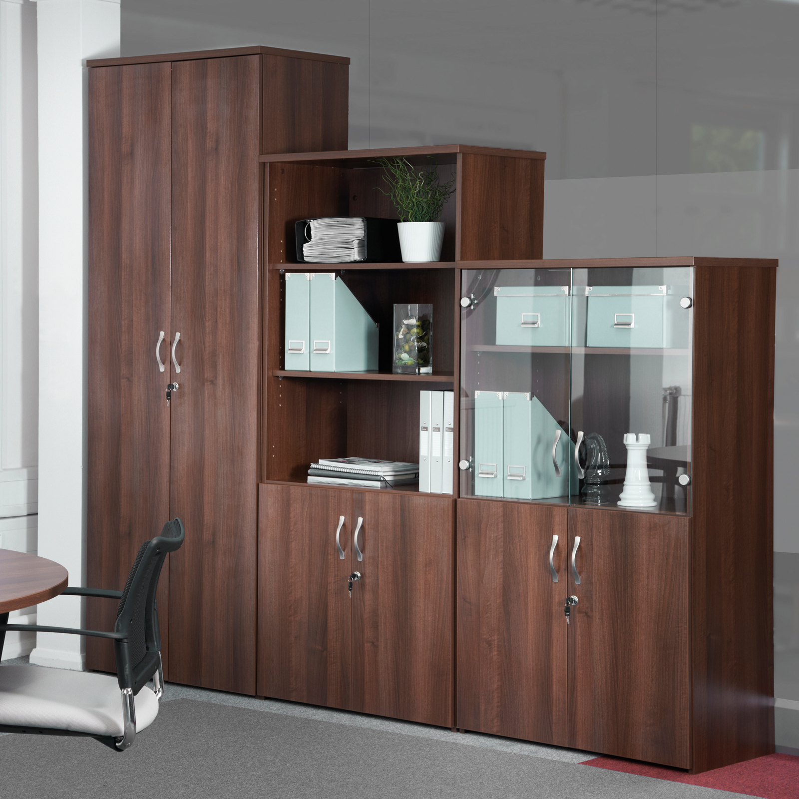 Universal double door cupboard 1440mm high with 3 shelves - walnut