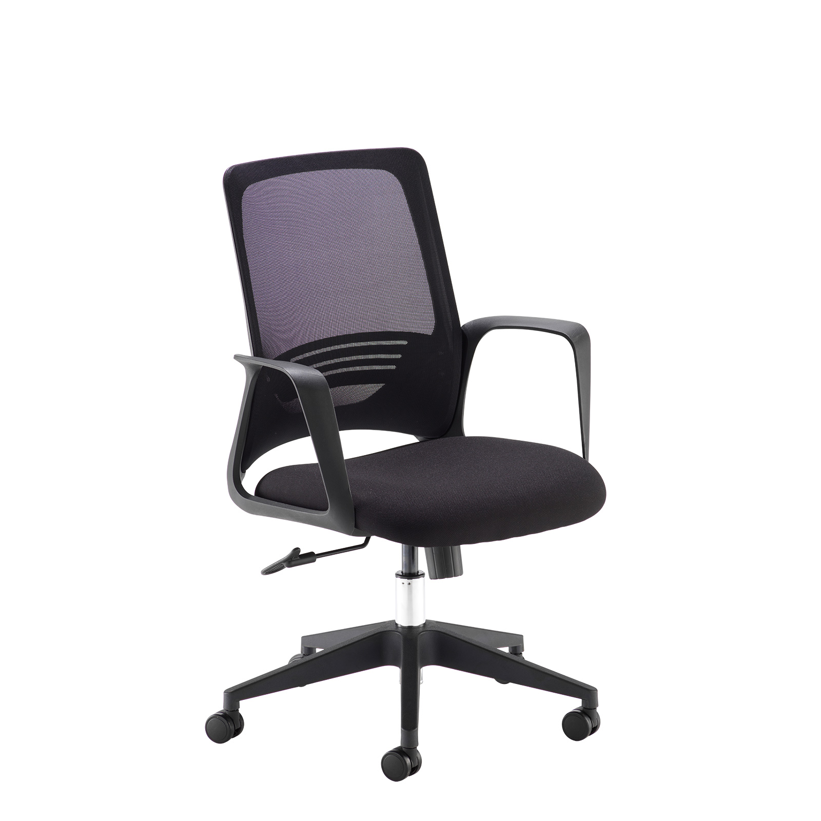 Desks Toto black mesh back operator chair with black fabric seat and black base